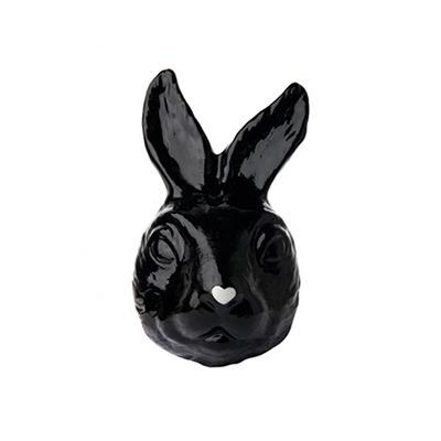 Máscara Coelho em Porcelana Cor Preta Nariz Branco