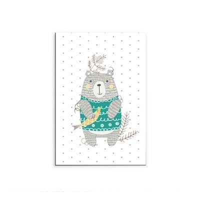 Placa Decorativa Urso Touca Verde