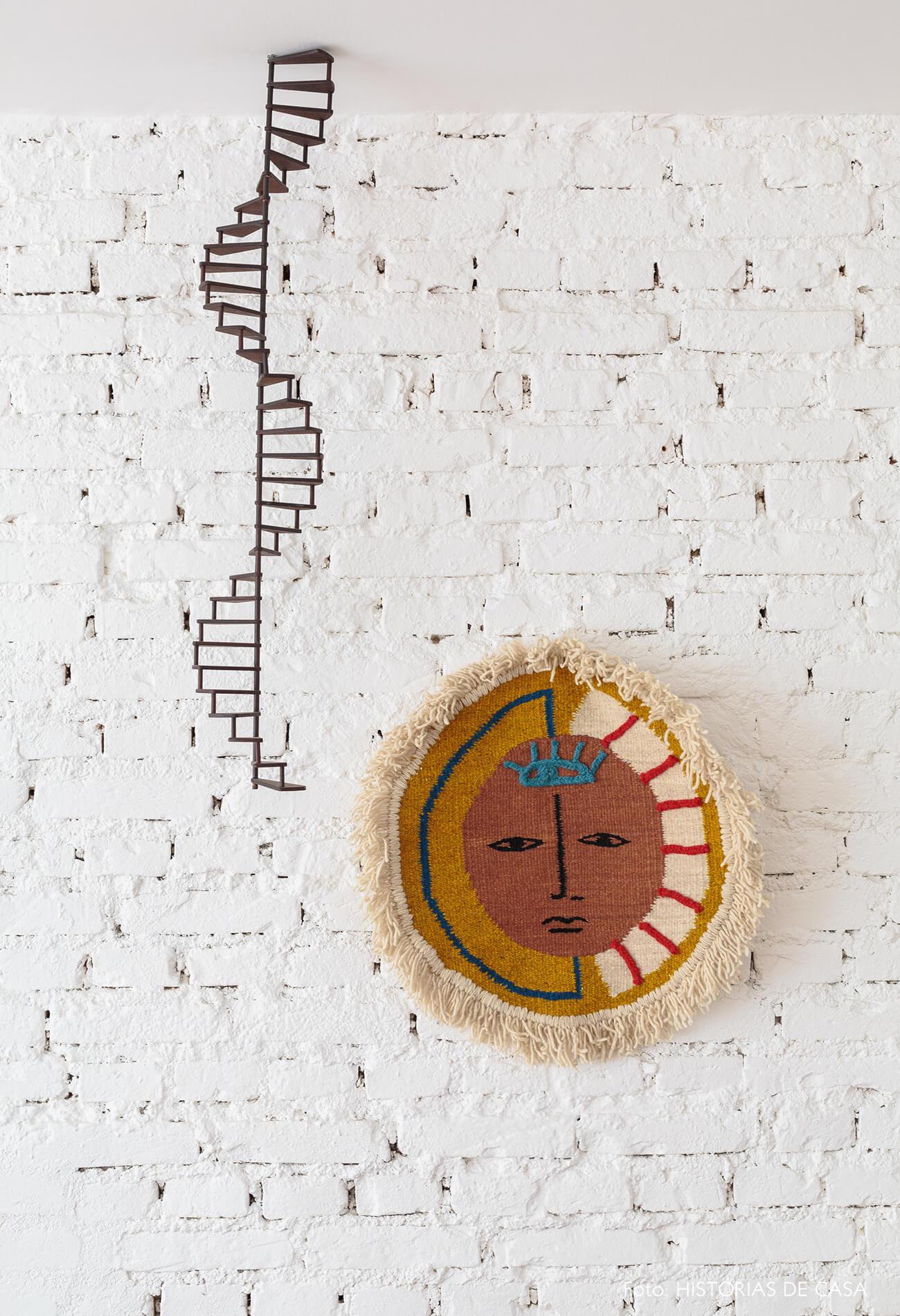 decoração sala tapeçaria em parede de tijolos brancos