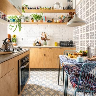 decoração cozinha com armarios marcenaria parede cobogo
