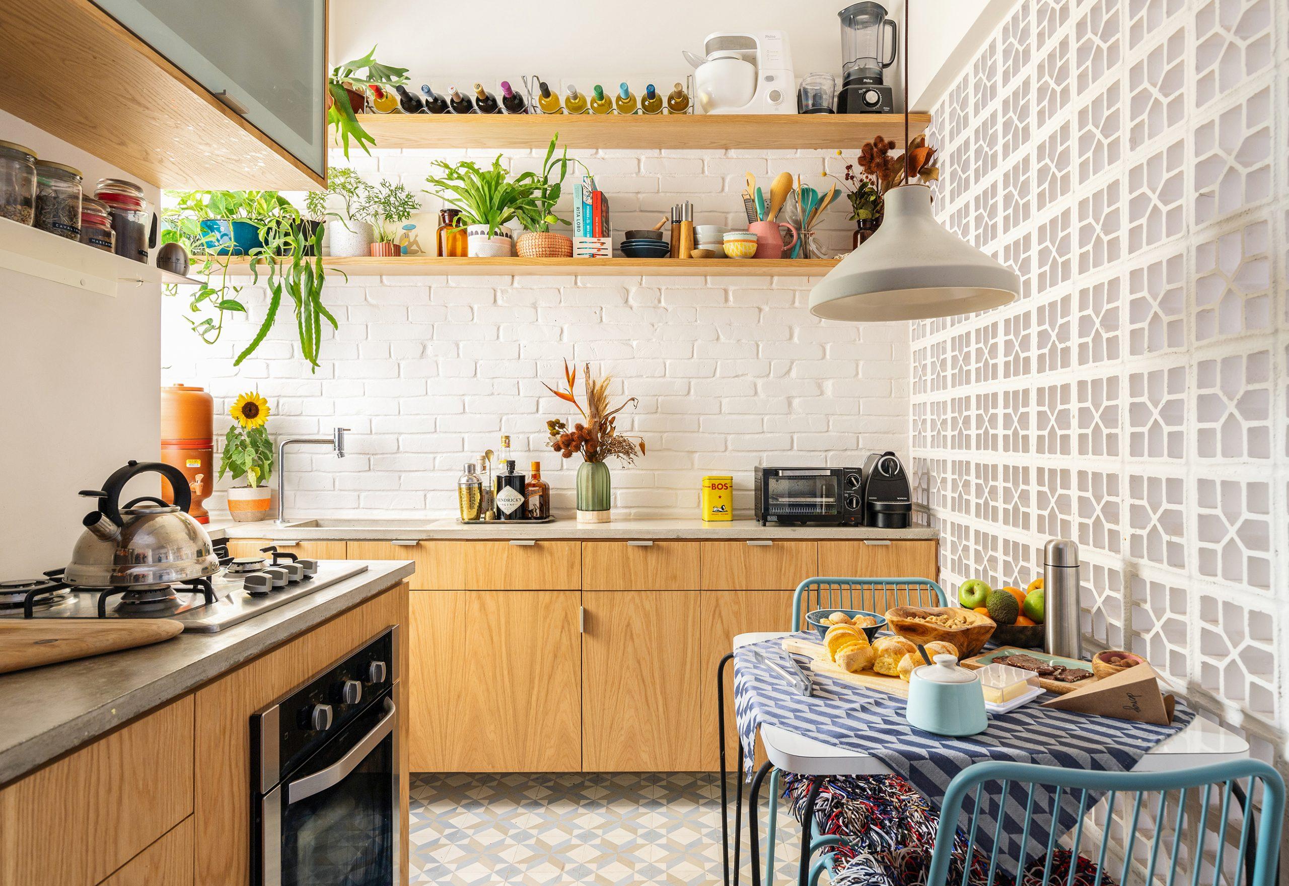 decoração cozinha com armários marcenaria parede cobogo