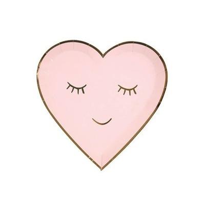PRATOS DE PAPEL LOVE coração