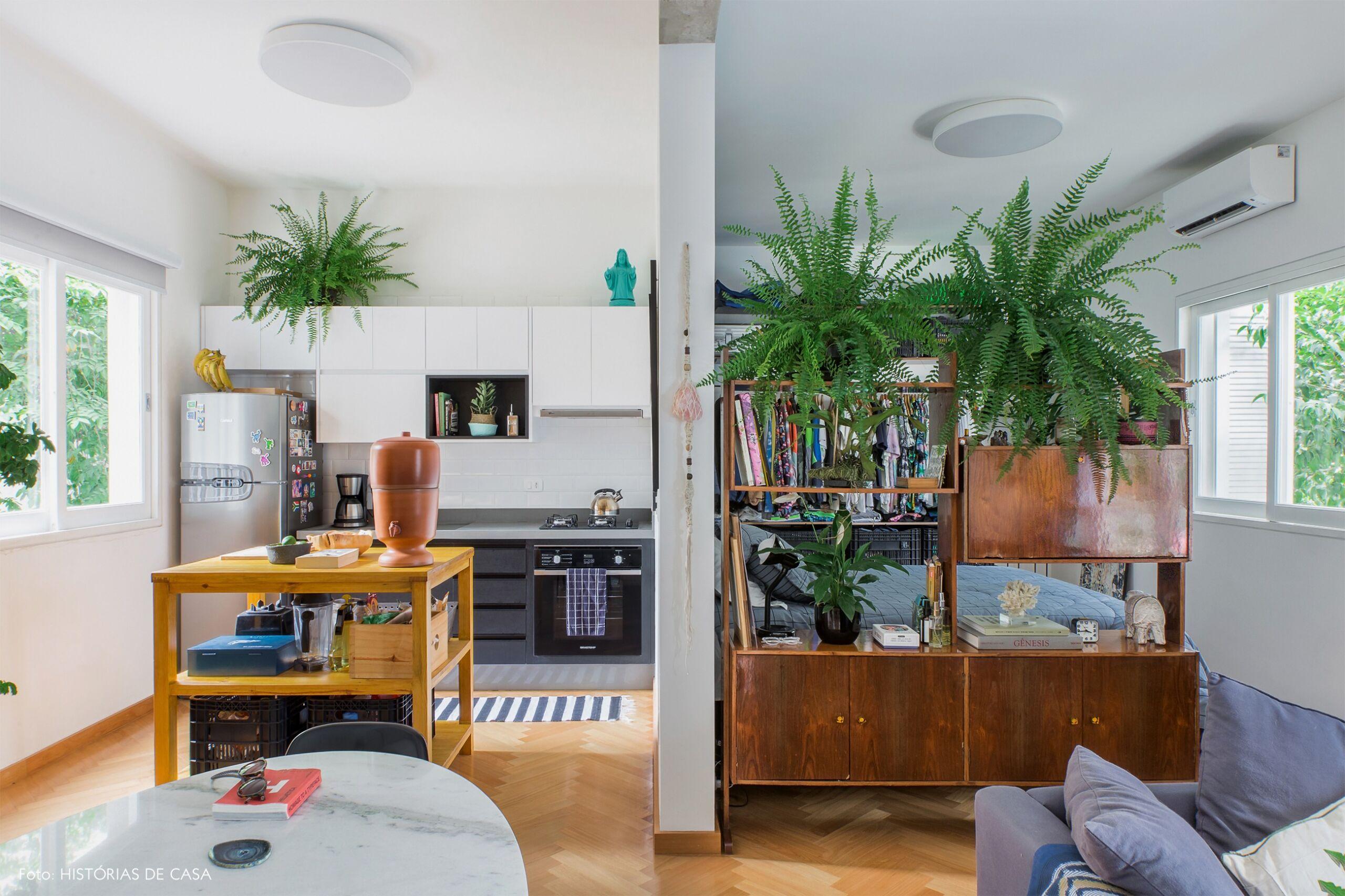 decoração apê sala quarto cozinha integrado