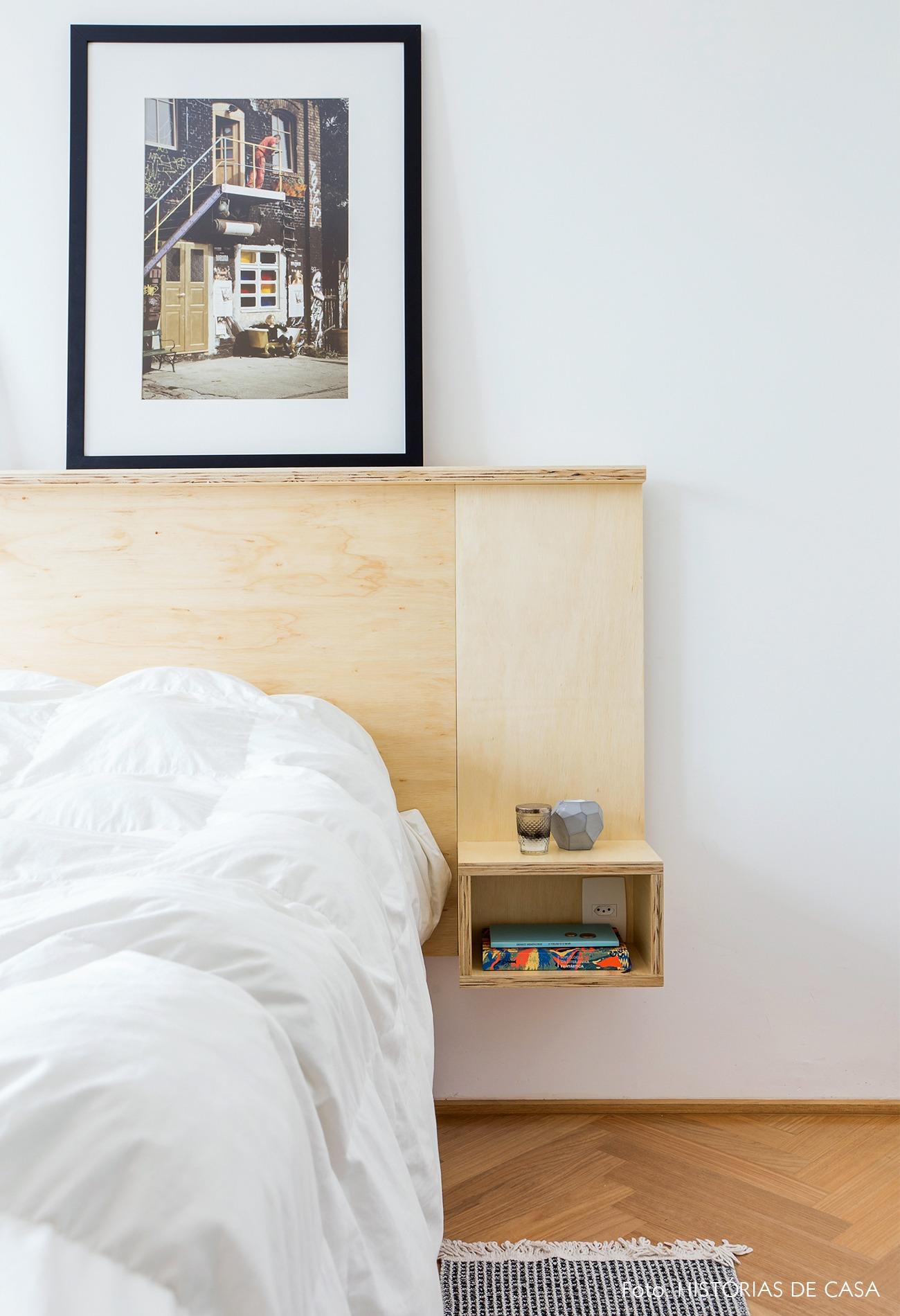 decoração apê quarto cabeceira madeira