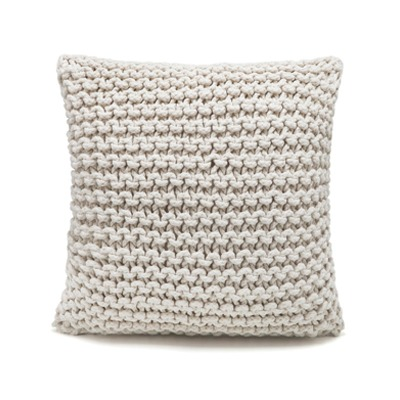 Almofada String 45×45 frente e verso tricot Cru