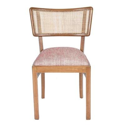 cadeira em marfim com encosto em palhinha
