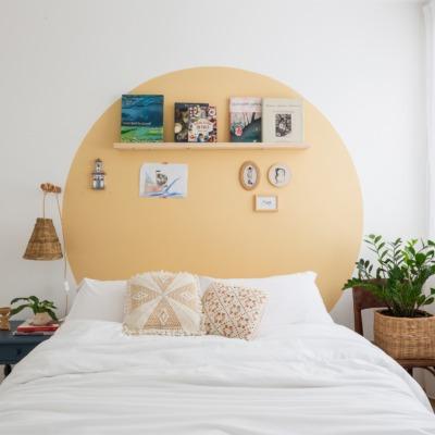 decoração Antes e depois de quarto com circulo tinta amarela