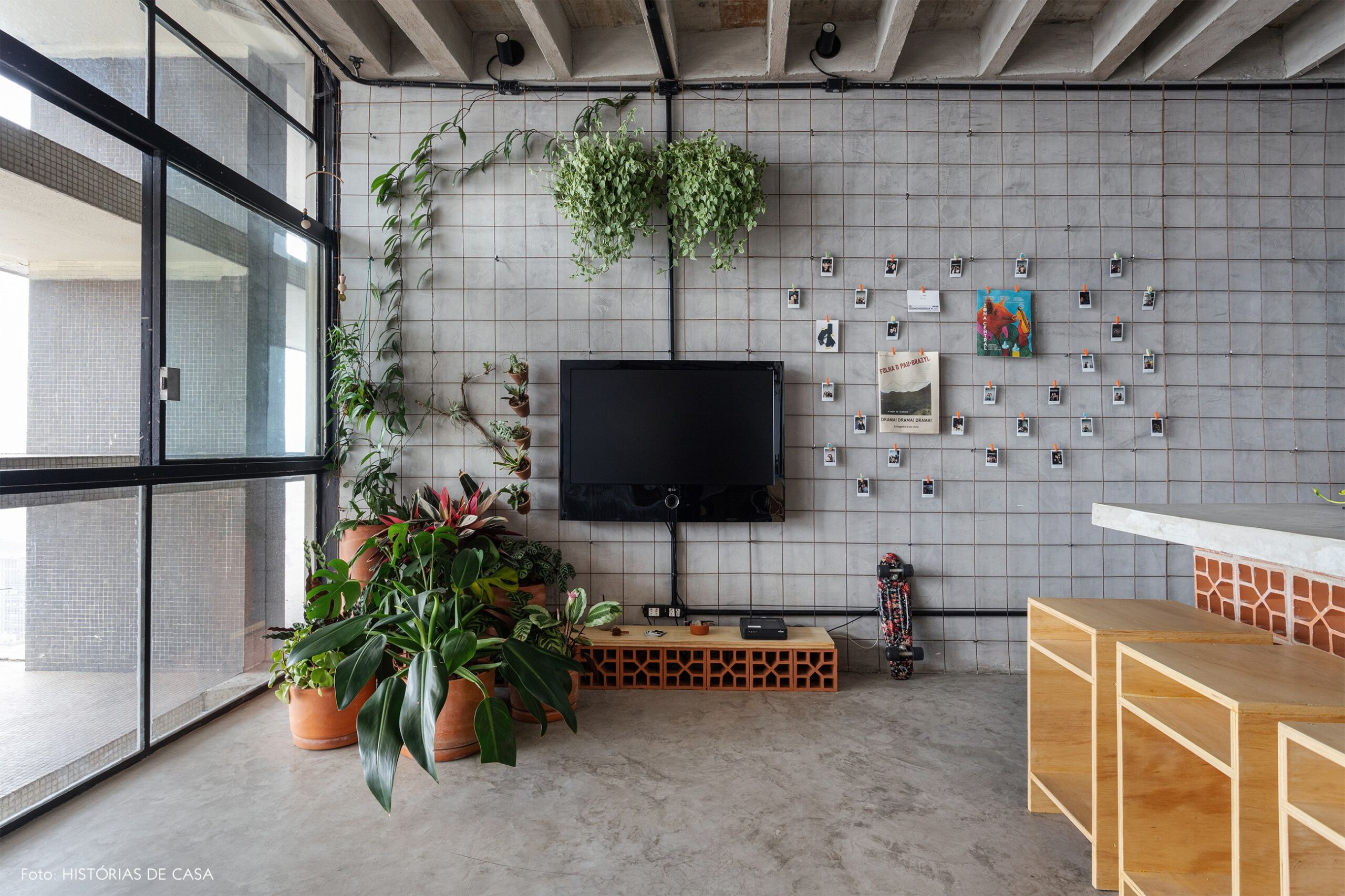 COPAN decoração ape integrado industrial tijolos como rack