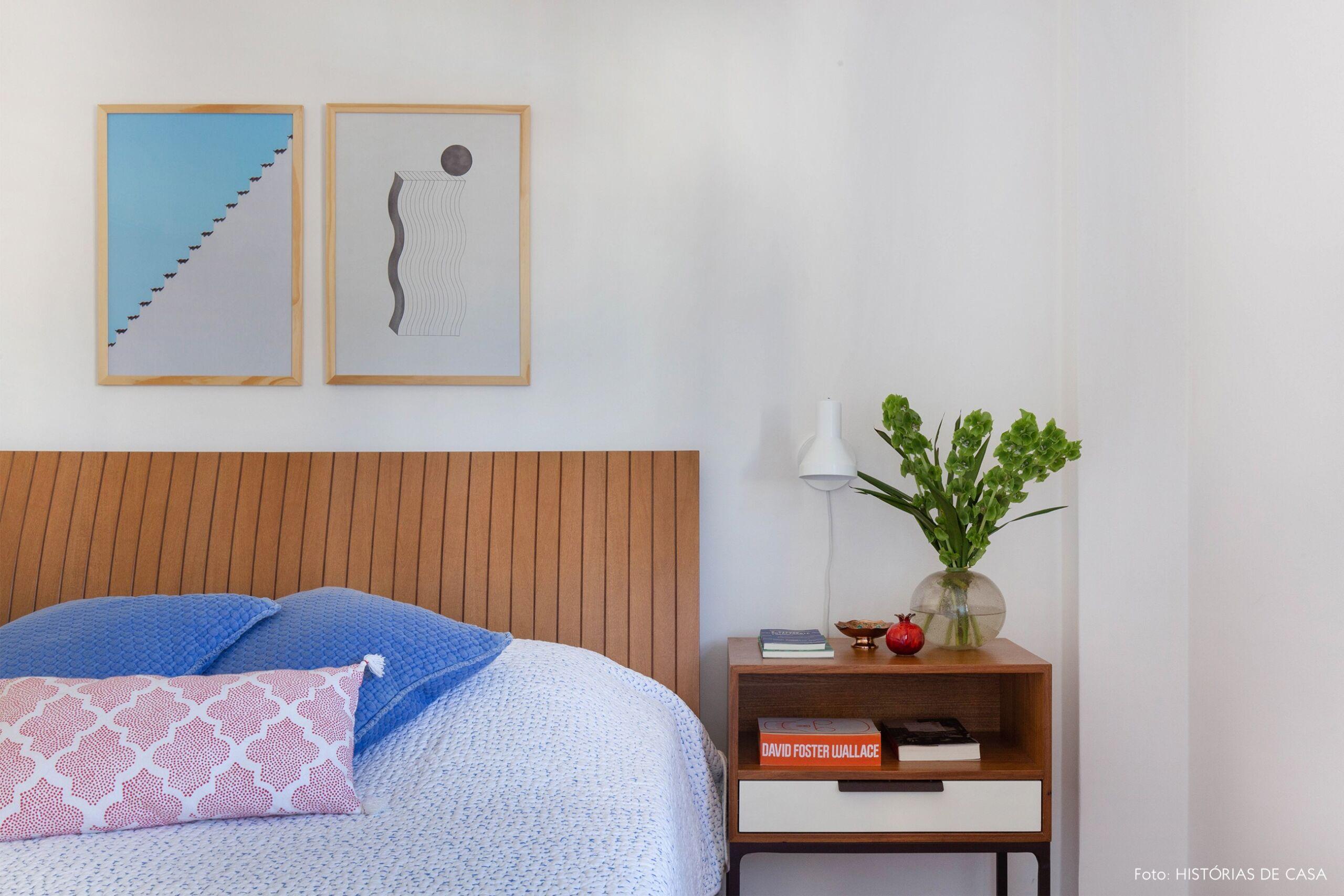 decoração obrah quadros abstratos quarto cabeceira madeira
