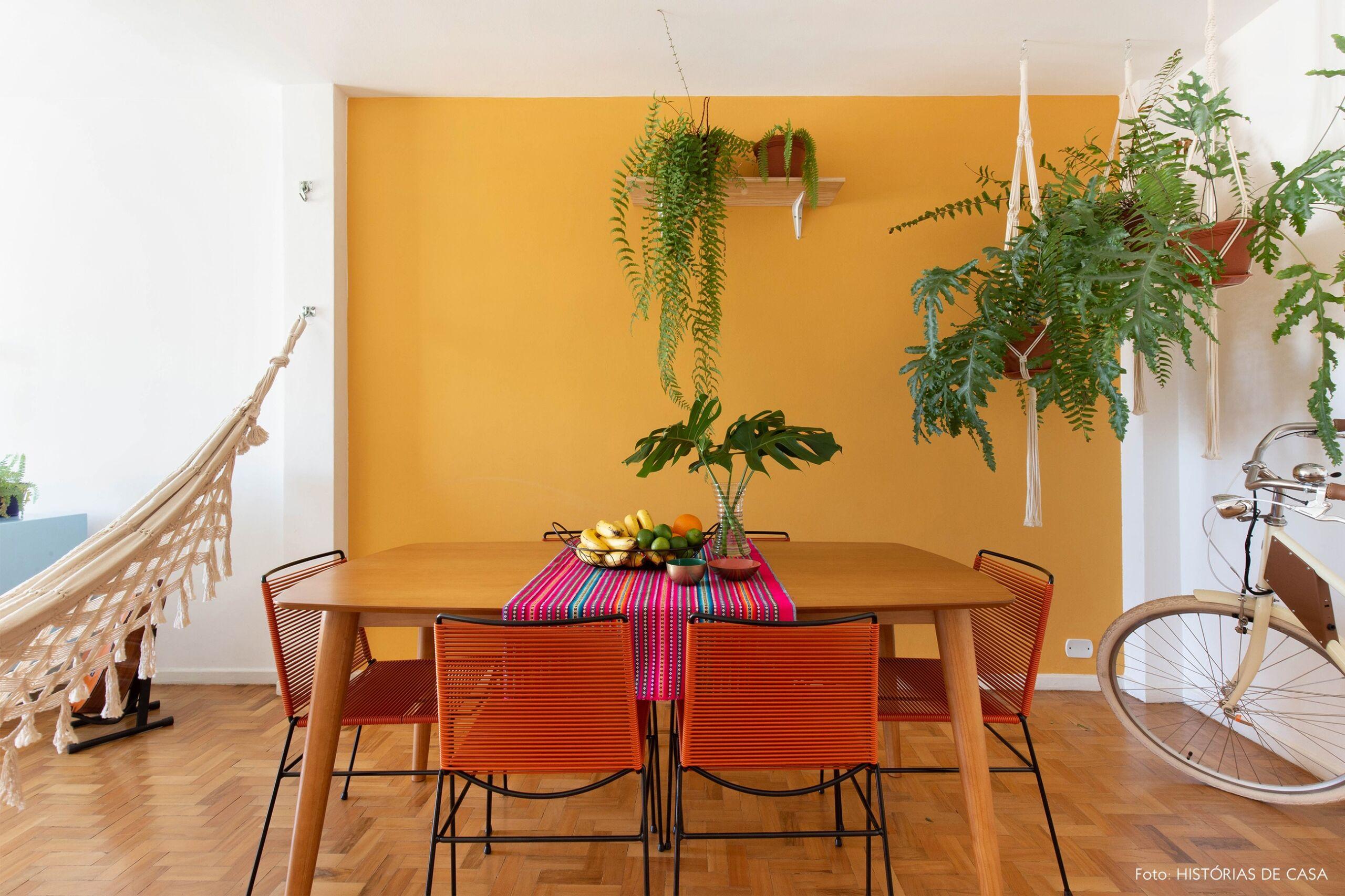 decoração obrah quadros sala jantar parede mostarda rede
