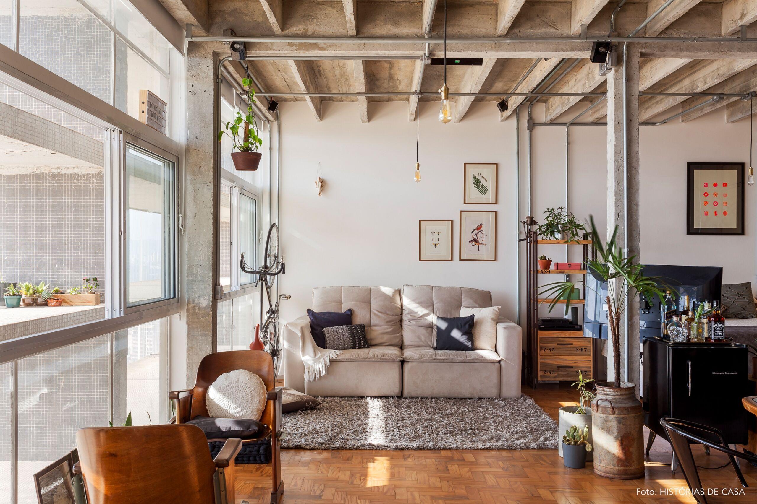 COPAN decoração ape integrado sofa branco colunas concreto