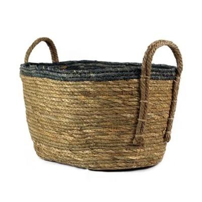 cesto em palha natural com borda colorida