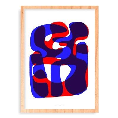 quadro composição abstrata azul e vermelho