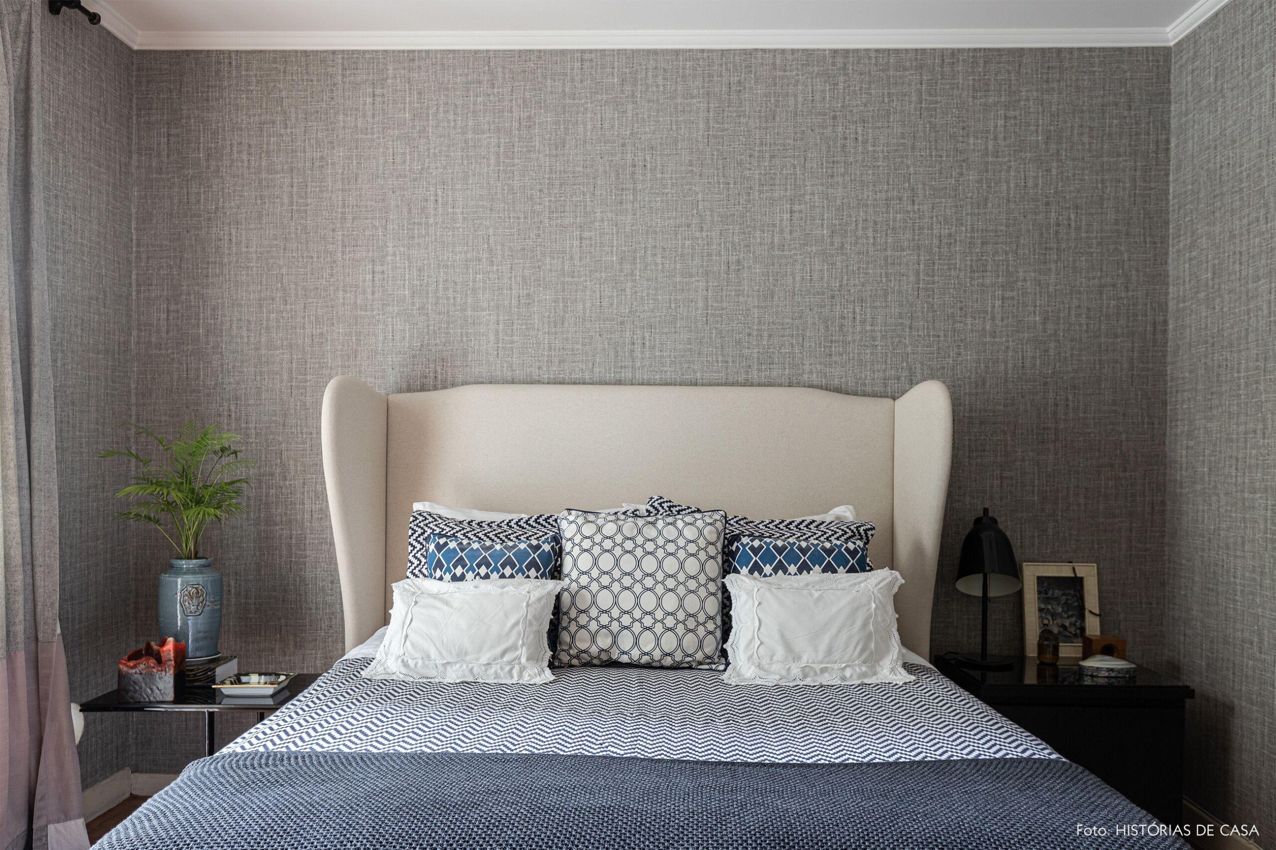 decoração quarto papel de parede tecido cinza
