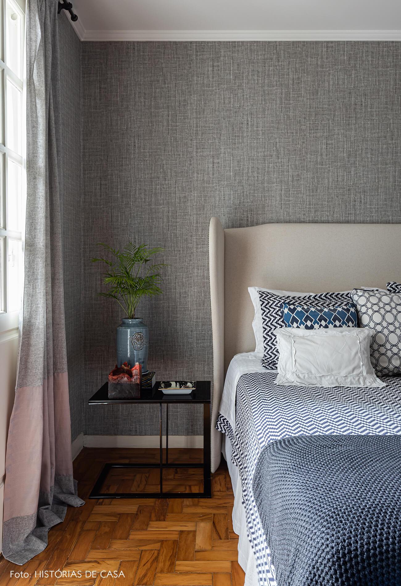 decoração quarto papel de aprede tecido cinza
