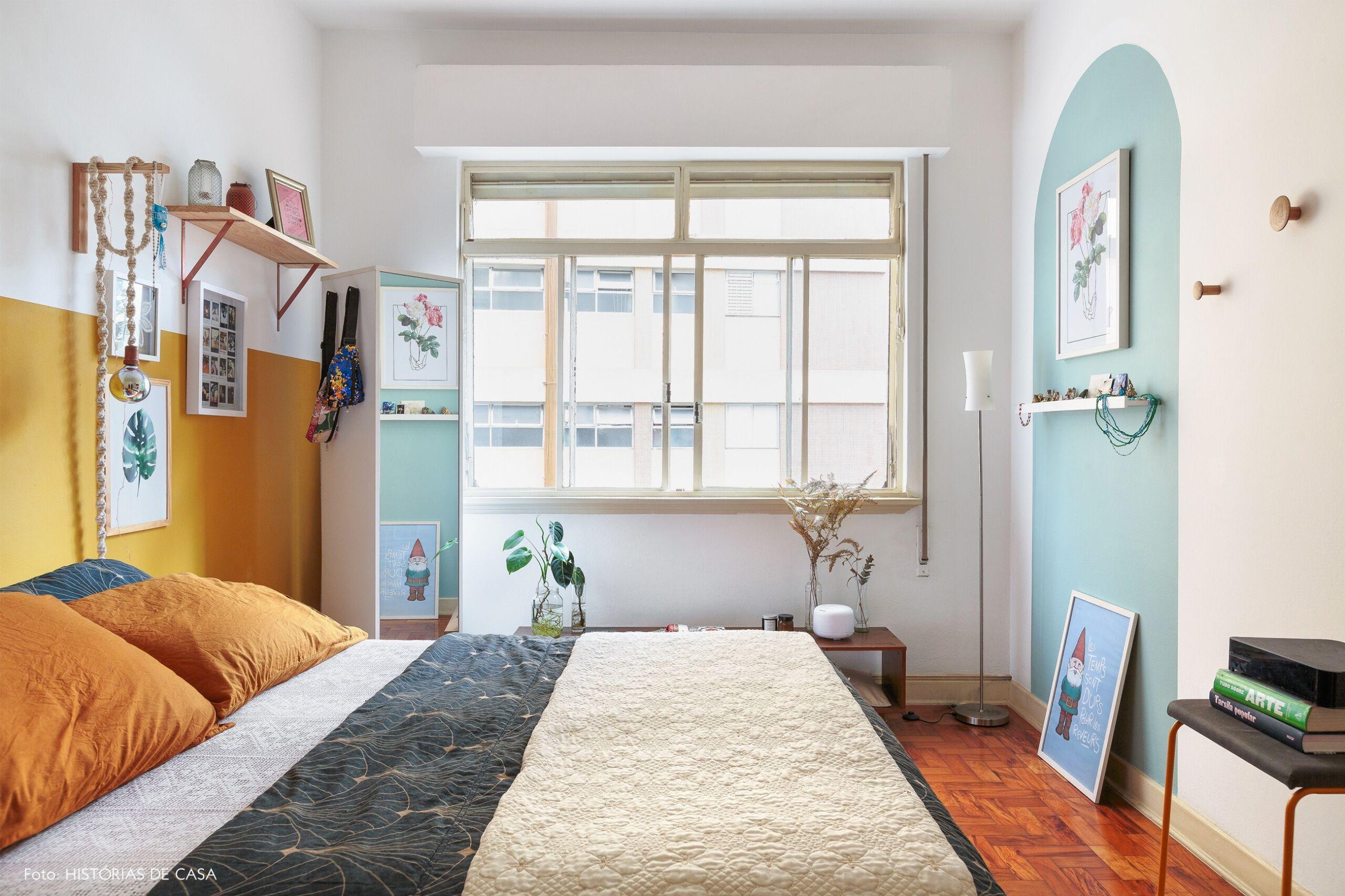 decoraçãouarto meia parede mostarda parte azul
