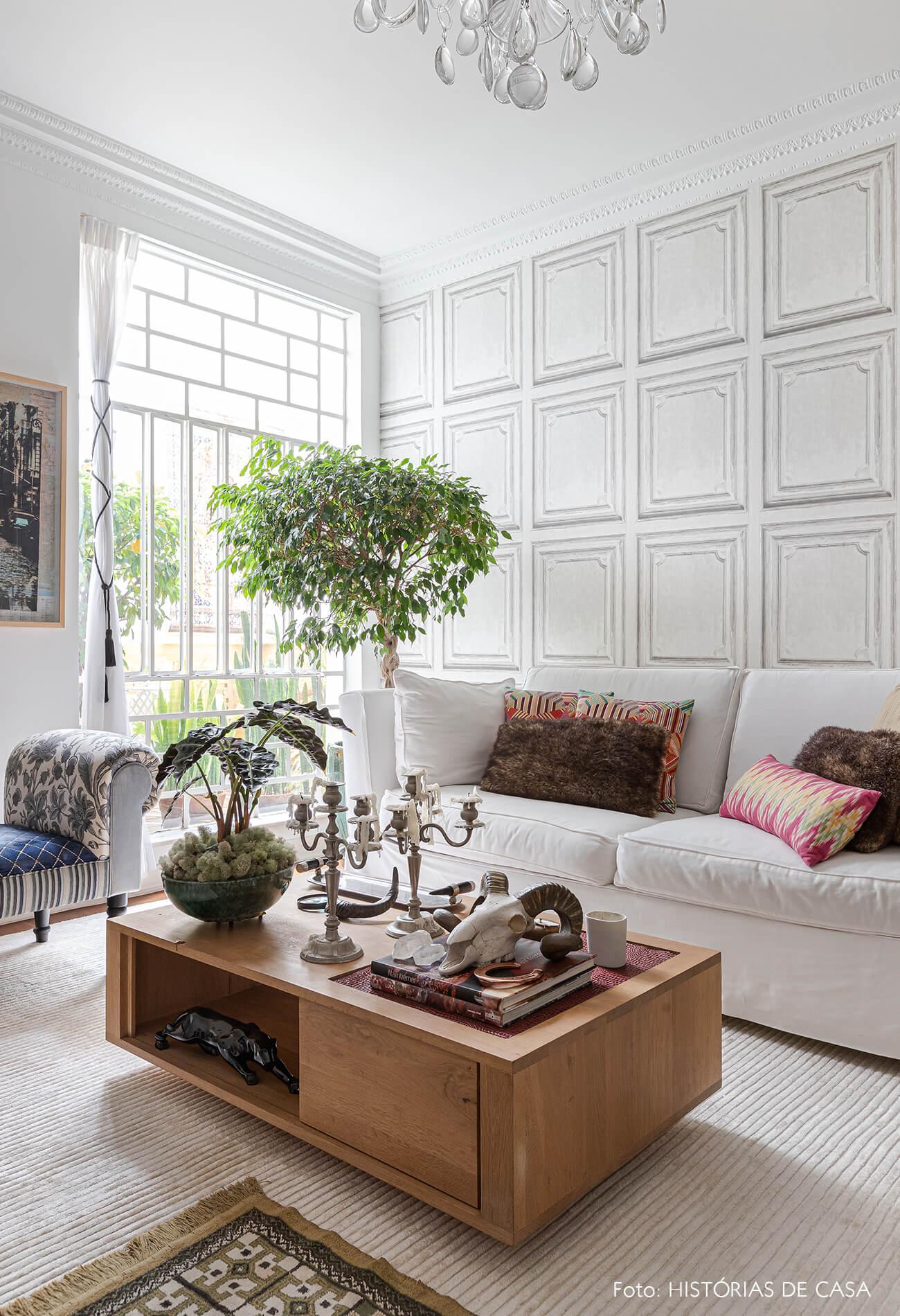 decoração sala parede branca janela