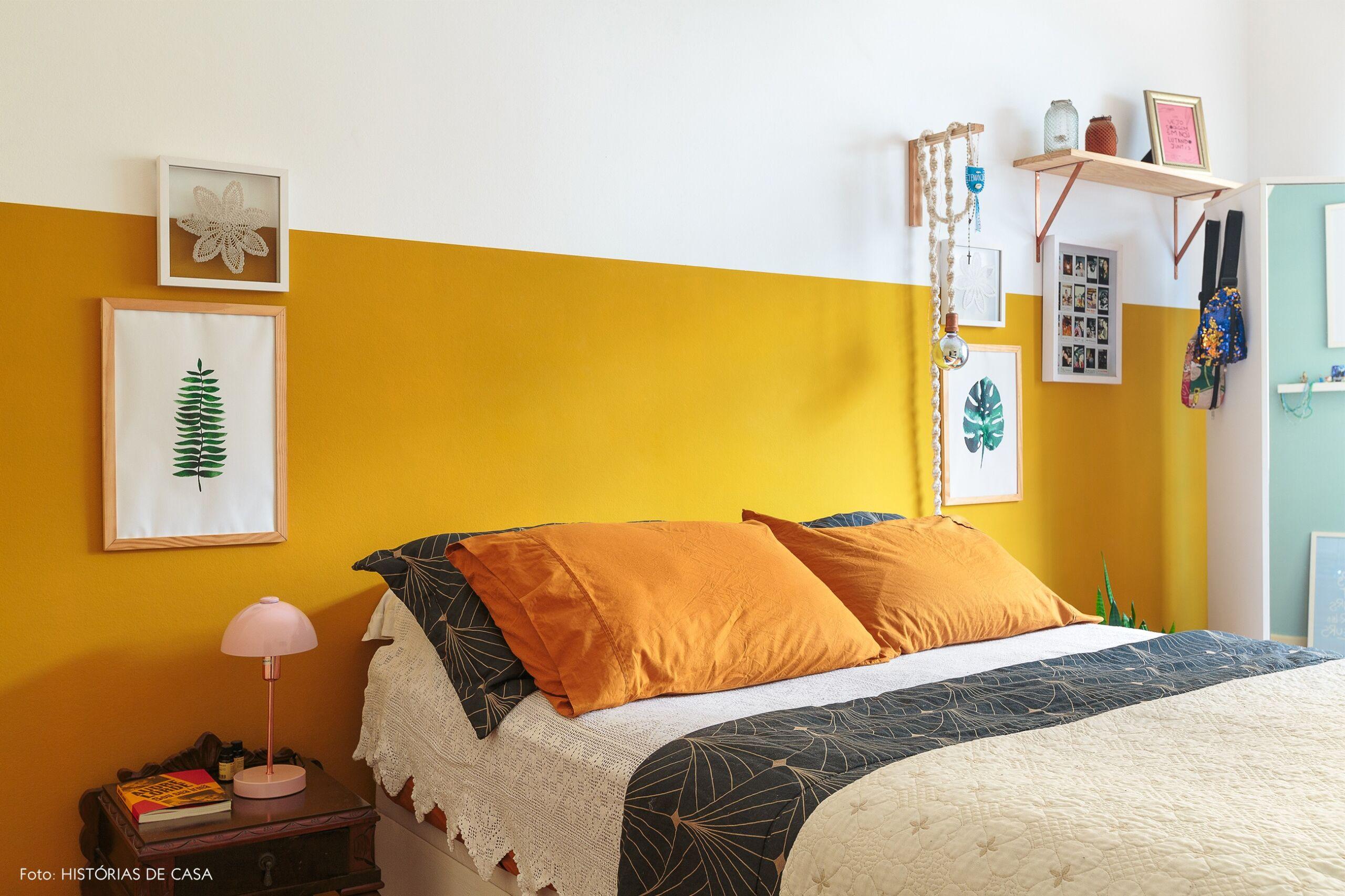 decoração quarto meia parede mostarda luminaria croche