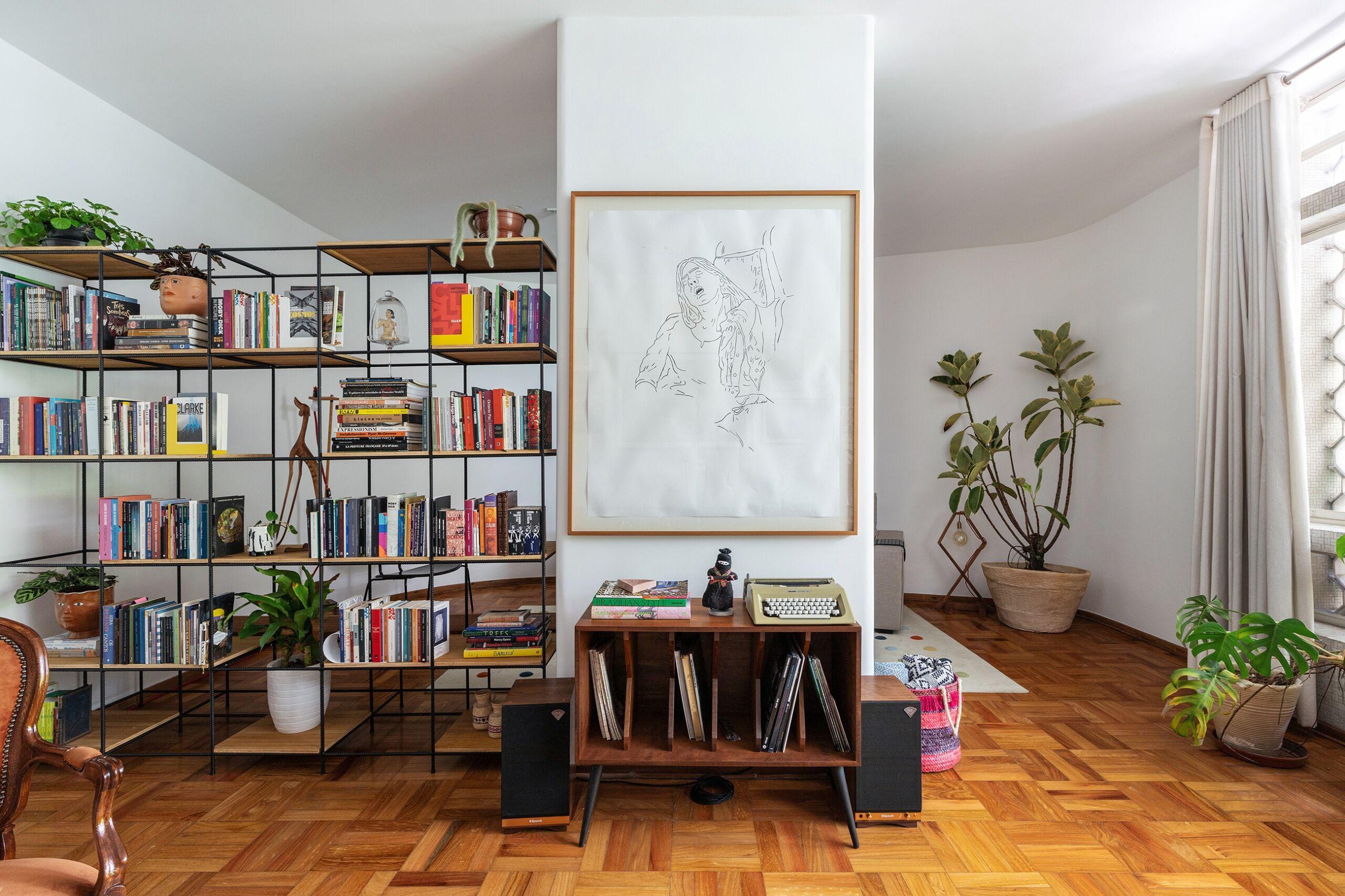 sala de estar com toca discos