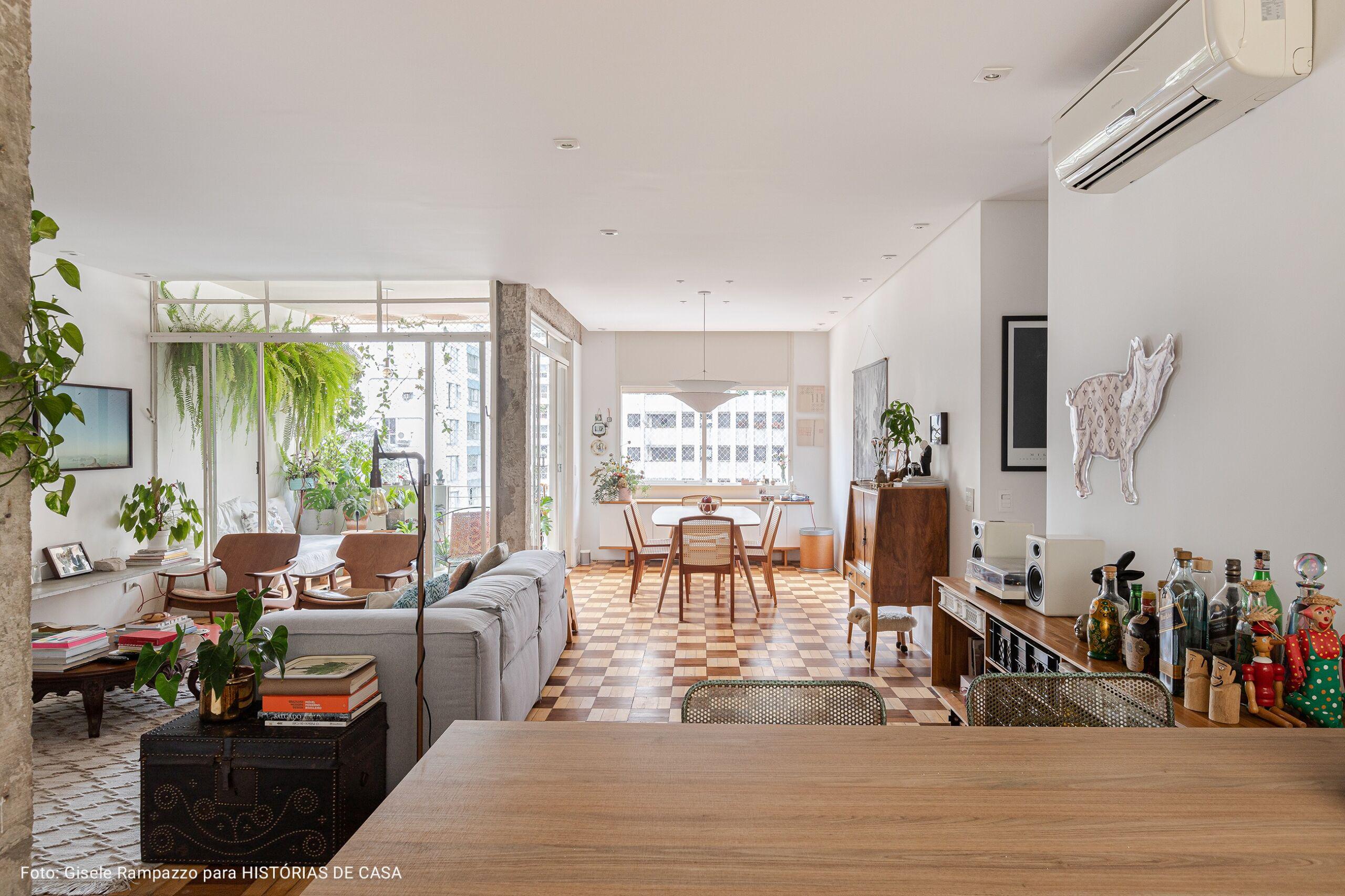 sala com cozinha interligada