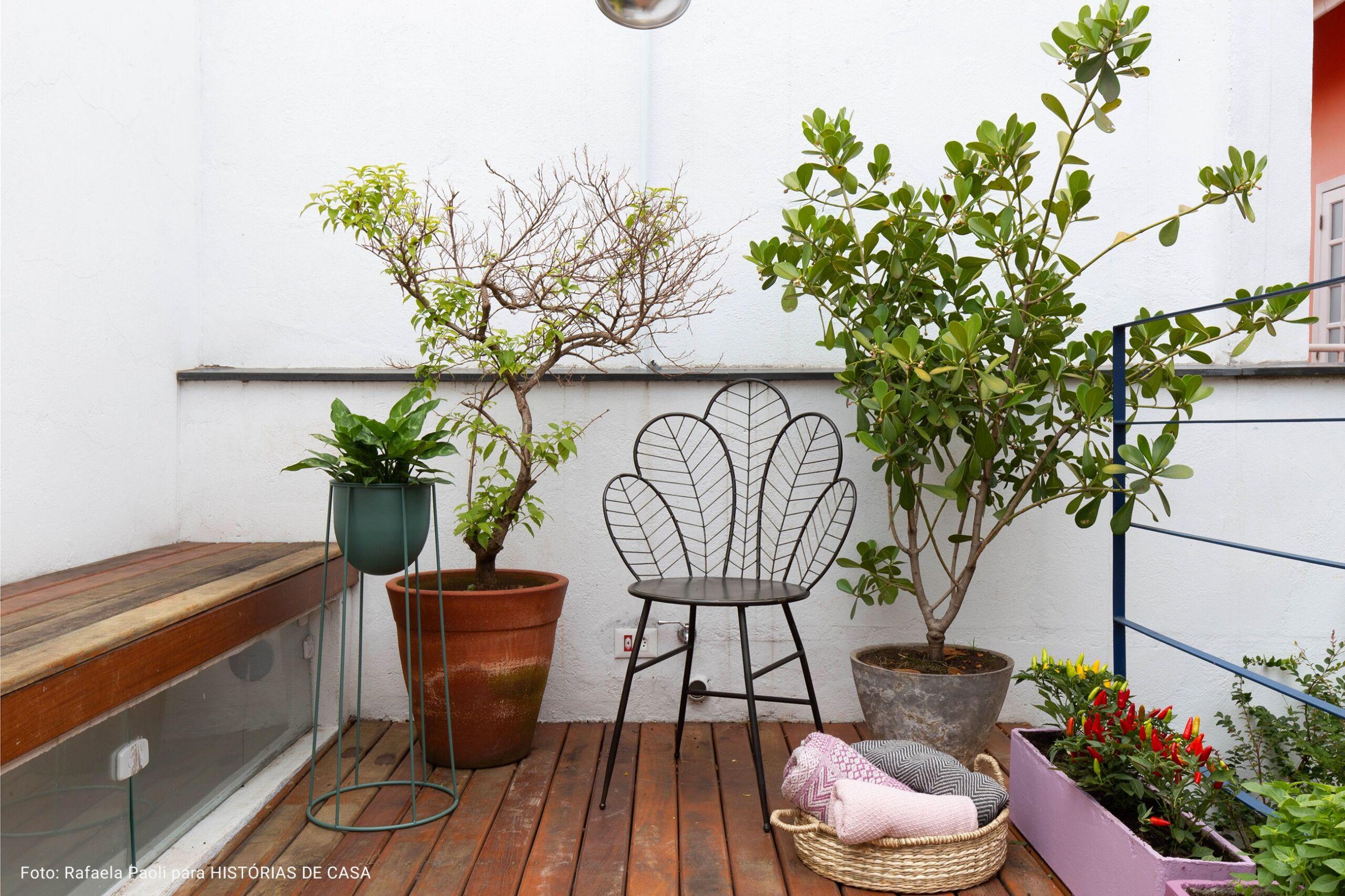 varanda com plantas e piso de madeira