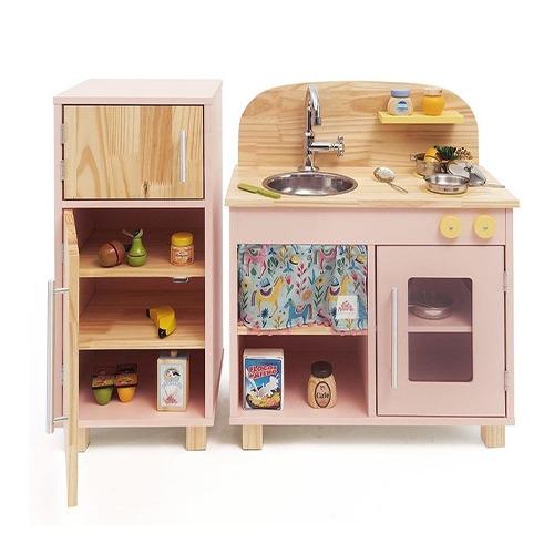 Kit Cozinha e Geladeira de madeira rosa