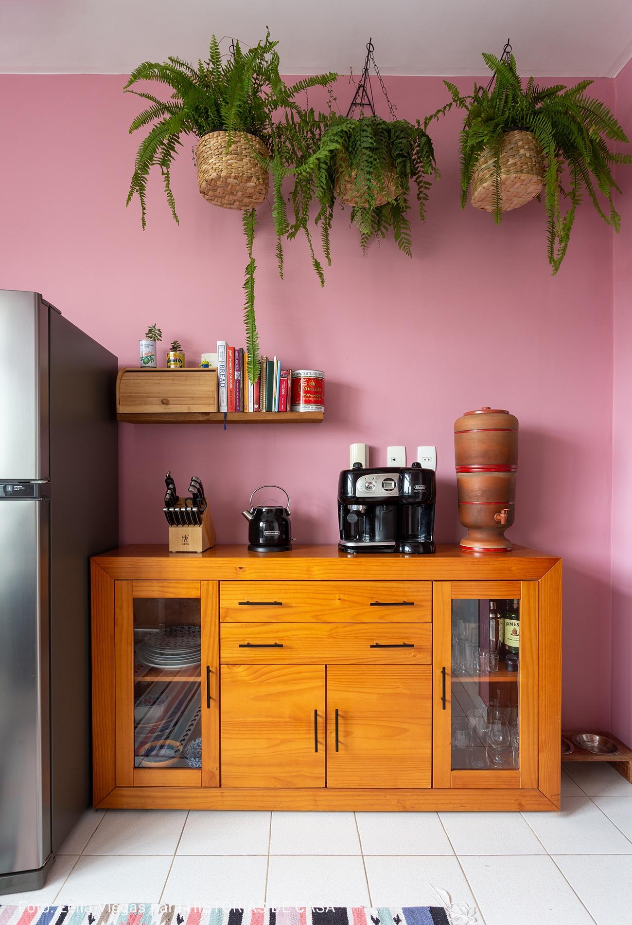 cozinha com sambambaias pendentes