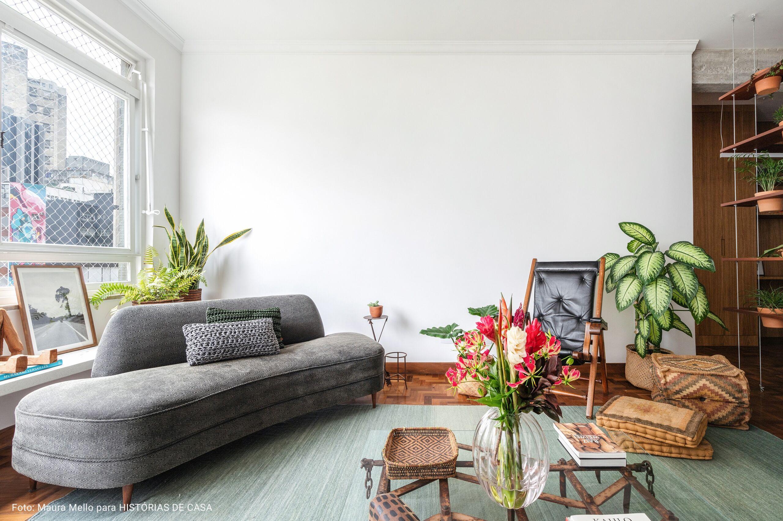 sala de estar ampla com plantas