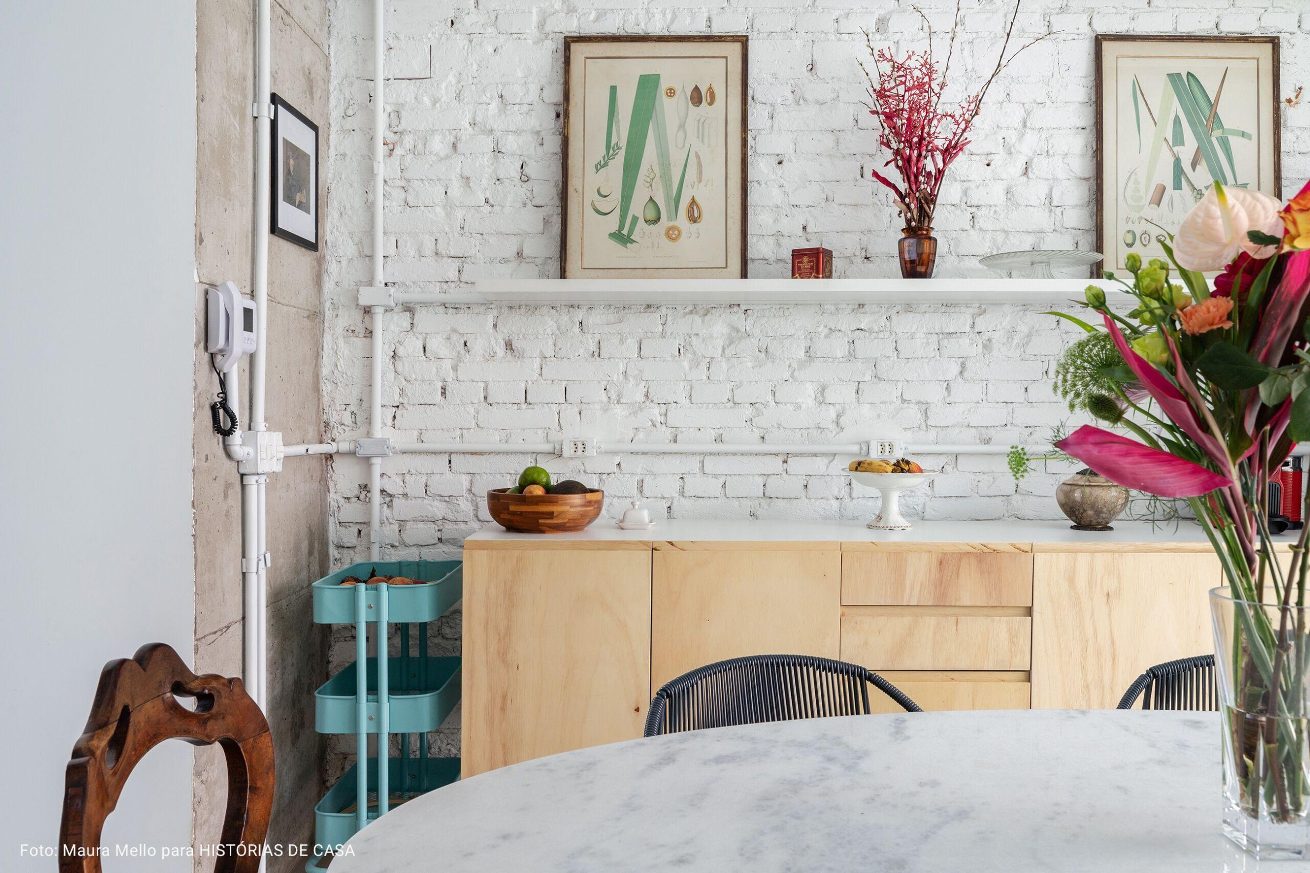 cozinha com fruteira azul