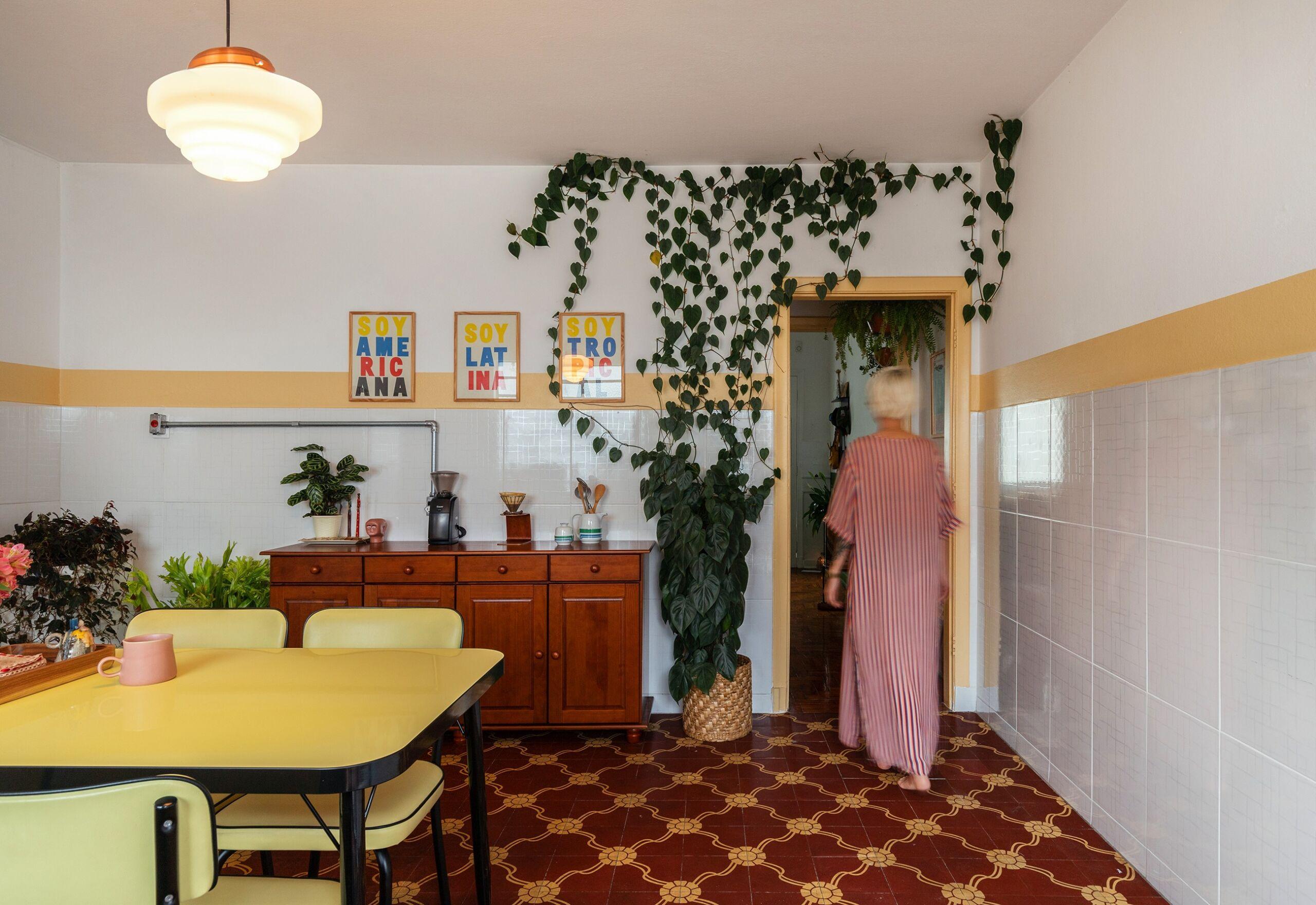 cozinha com plantas e piso antigo