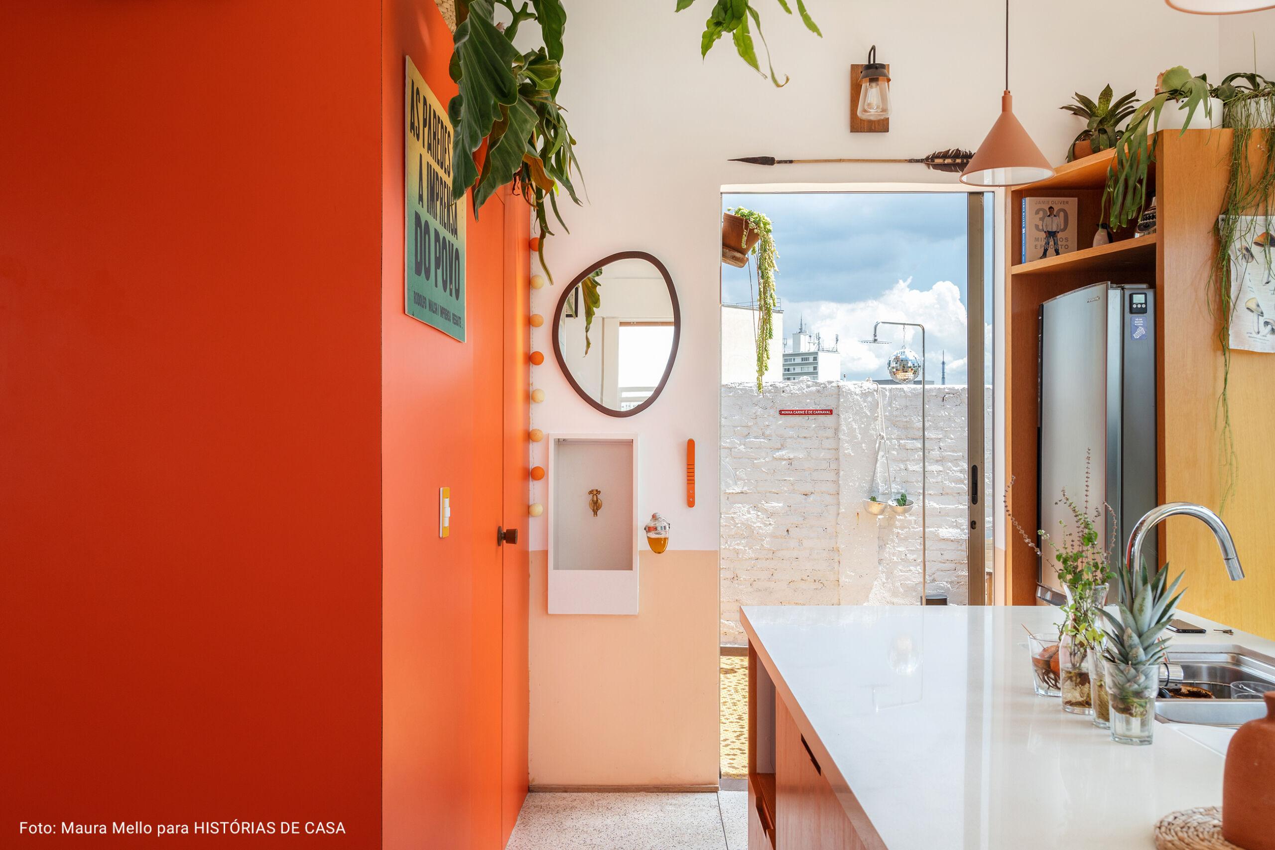 lavabo com meia parede rosa