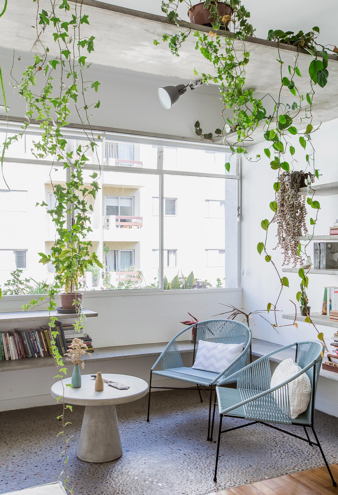 Apartamento com sala e varanda integradas e muitas plantas