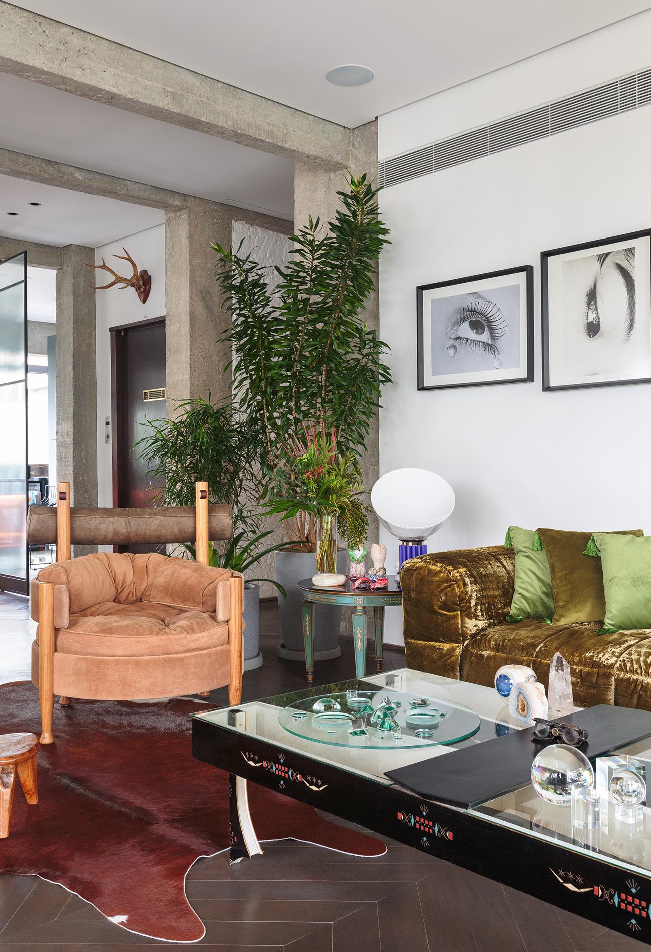decoração ap sala com poltrona sergio rodrigues, sofá verde de veludo