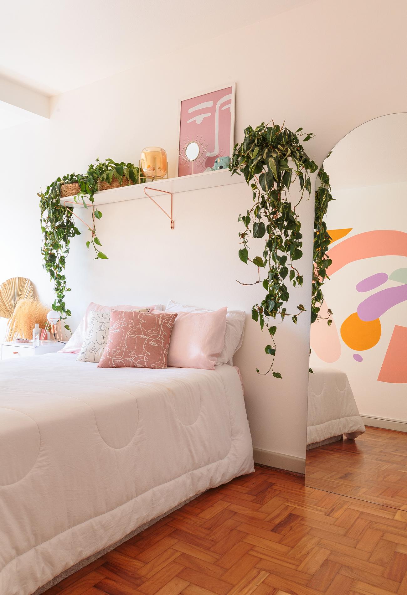 decoração ape alugado quarto com pintura organica na parede